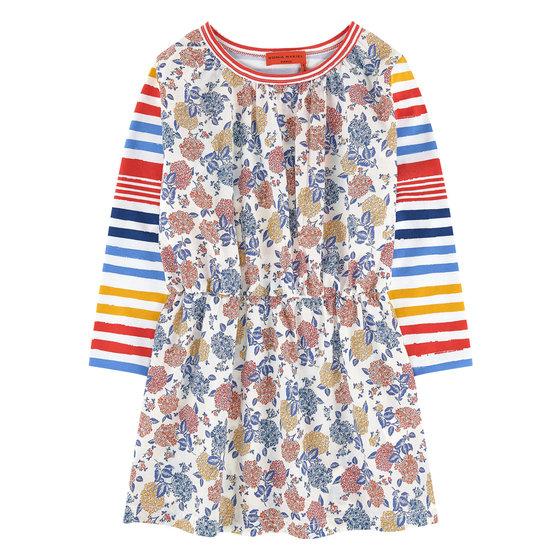 Bi-material Floral Print Dress