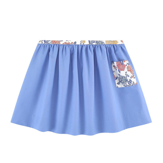 Floral Printed Blue Skirt