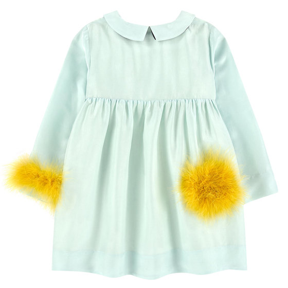 Mint Silk Dress with Fancy Feathers