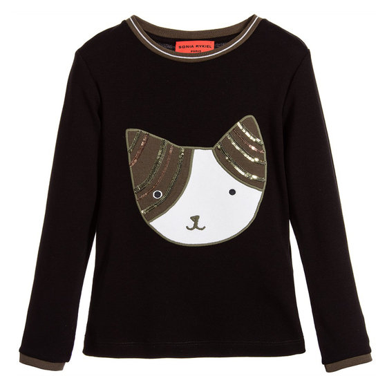 Black Tee-shirt with fancy cat face patch and sequins