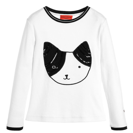 White T-shirt with Sequins Cat Face Patch