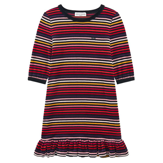 """Bruna"" Striped Velvet Dress"