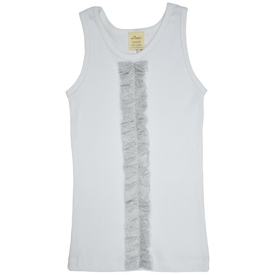 Sparkle Silver Ruffle on White Tank