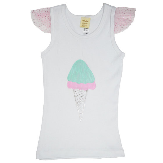 Sugar Cone on White Tank with Flutter Sleeve