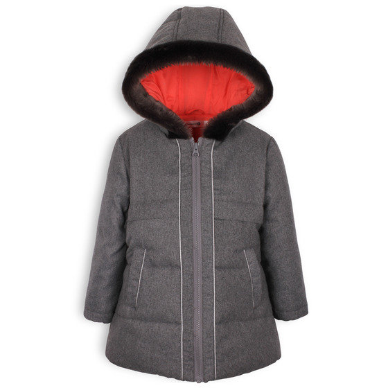 Grey Hooded Downcoat