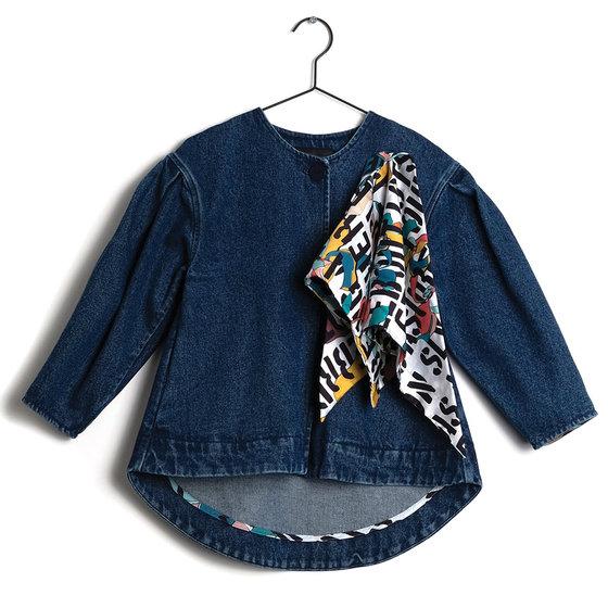 "Girl Blue Denim ""Amelia"" Short Coat with Scarf"