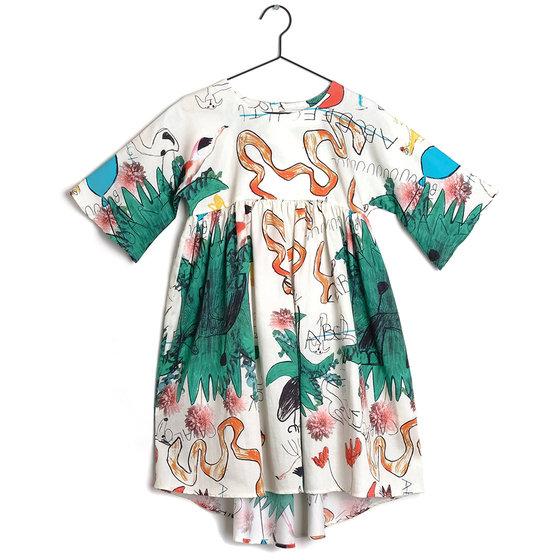 "New Season: Girl Snake & Ladders Print ""Silvia"" Dress"