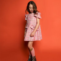 New Season: Christmas Dress in Pink Sparkle Tweed