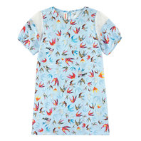 Birds Print Silk Dress