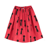 Cotton Long Skirt KEYHOLES AOP