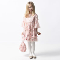 Pink Flower 3/4 Sleeves Dress