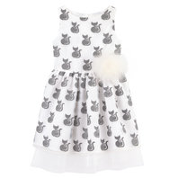 Cat Embroidered Organza Dress