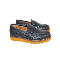 Navy Woven Slip-On Shoes