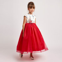Ballerina Print & Red Tulle Empire Dress
