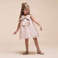 Pink organza stripe trapeze dress