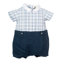 Baby Boys Navy Linen Shortie