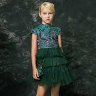 Green Brocade Tulle Dress with Hand-Bag
