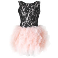 Black Lace Pink Tutu Dress