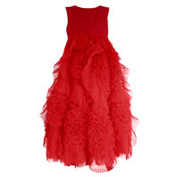 Red Frisky Frolic Long Pleated Tulle Dress