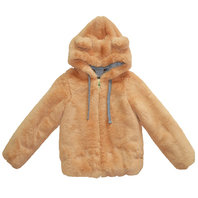 Teddy Bear Ear Brown Faux Fur Hood Jacket