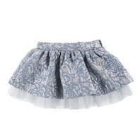 Little Girls Grey and Blue Brocade Skirt