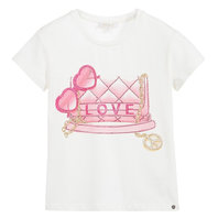Fancy print T-shirt with rhinestones
