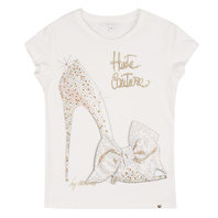 Stiletto print T-shirt with rhinestones