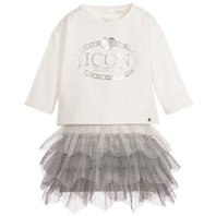 Girl 2 Pieces: Ivory and Silver Tulle Dress