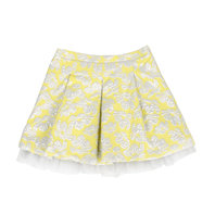 Yellow & silver flower embroidered skirt