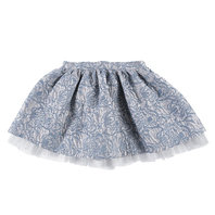 Girls Grey and Blue Brocade Skirt