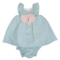 Aquamarine polkadot dress with bloomers