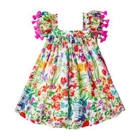 Garden floral print with pompoms dress