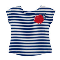 Erika White & Blue Stripes T-Shirt