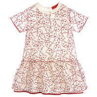 Off white silk organza dress with red cats faces