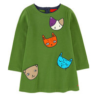 Green Cotton Fleece Dress with Fancy Patches