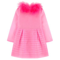 Pink Silk Organza Dress with Feathers