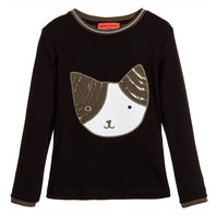 Black T-shirt with Sequins Cat Face Patch