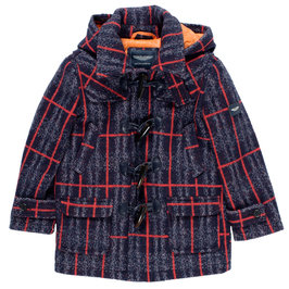 Toddler Boy Navy Blue Tweed Jacket with Hood