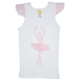 Ballerina on White Tank with Flutter Sleeve