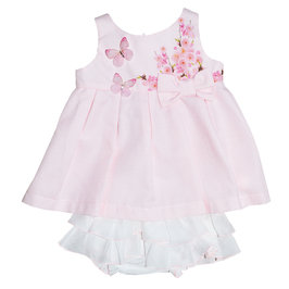 Baby Girl Pink Butterfly Dress with Bloomer