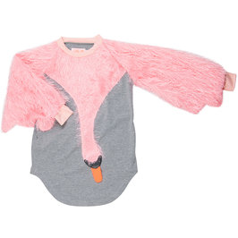 Raglan Swan Wing-Shaped with Pink Furry Sleeves Dress