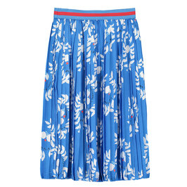 New Season: Girl's Blue Printed Long Pleated Skirt