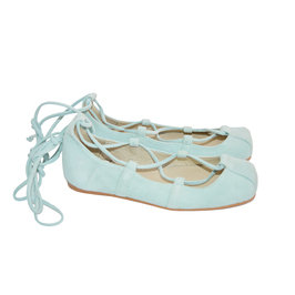 Ballerina Suede Shoes in Aquamarine