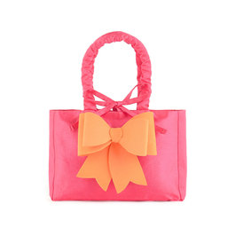 Fuchsia Taffeta Bag with Orange Bow