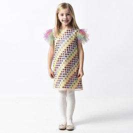 New Season: Girl Rainbow Multi-Coloured Dots Shift Dress