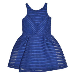 Royal Blue Perforated A-Line Dress