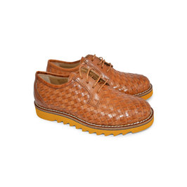 Brown Leather Woven Shoes