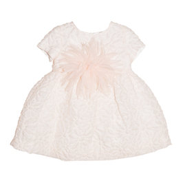 Baby Girl Coral Pink Silk with Floral Pattern