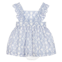 Blue Printed Pinafore Dress