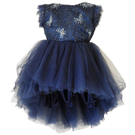 Girls Navy Blue Sequin Dress